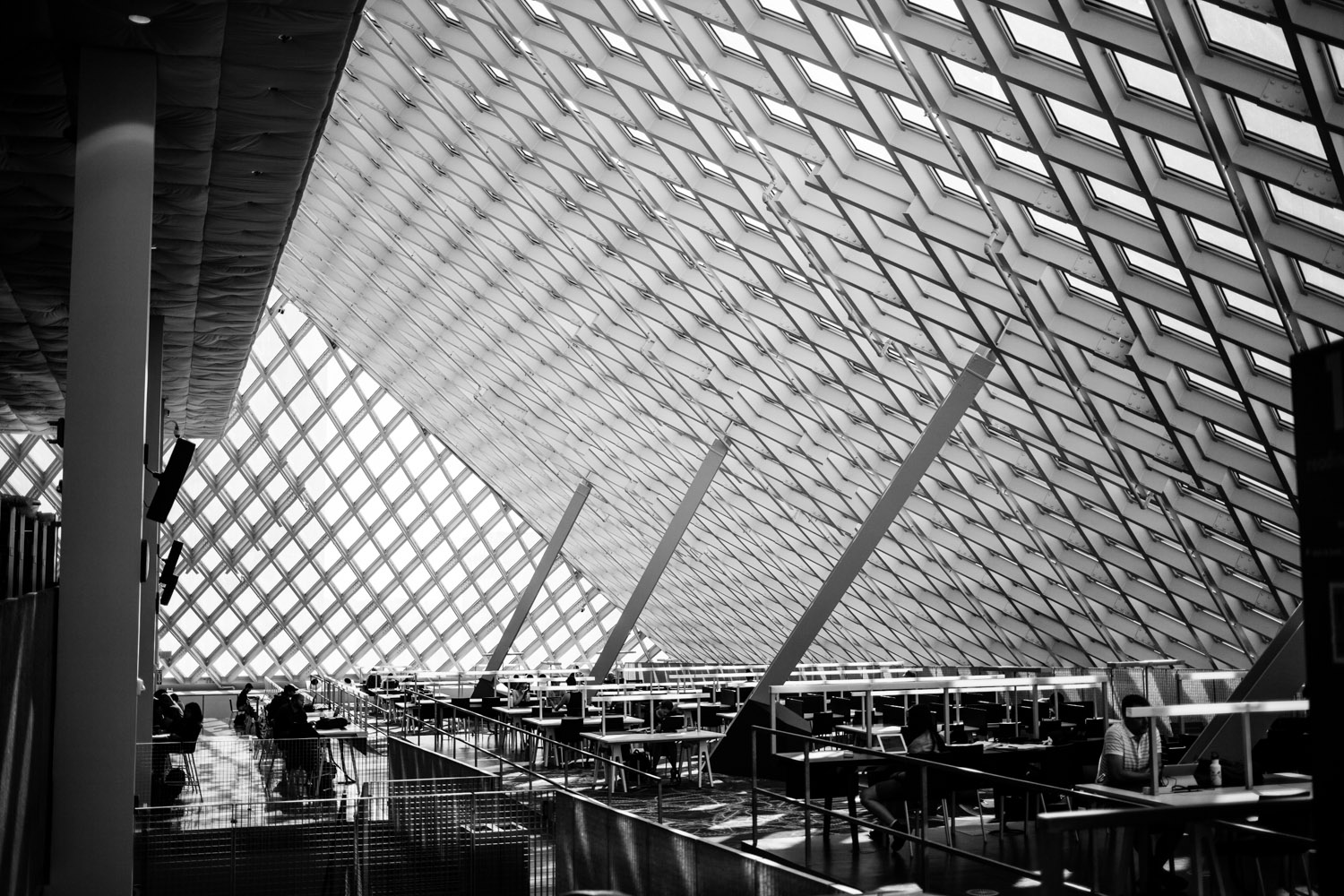 Inside theSeattle Public Library - Central Library location.