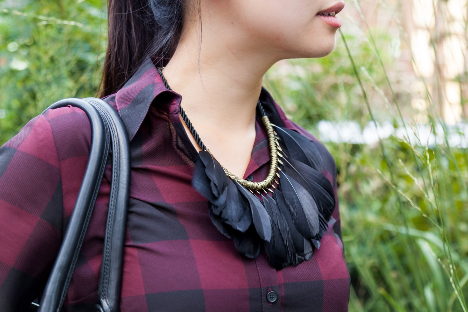 Black feather statement necklace.