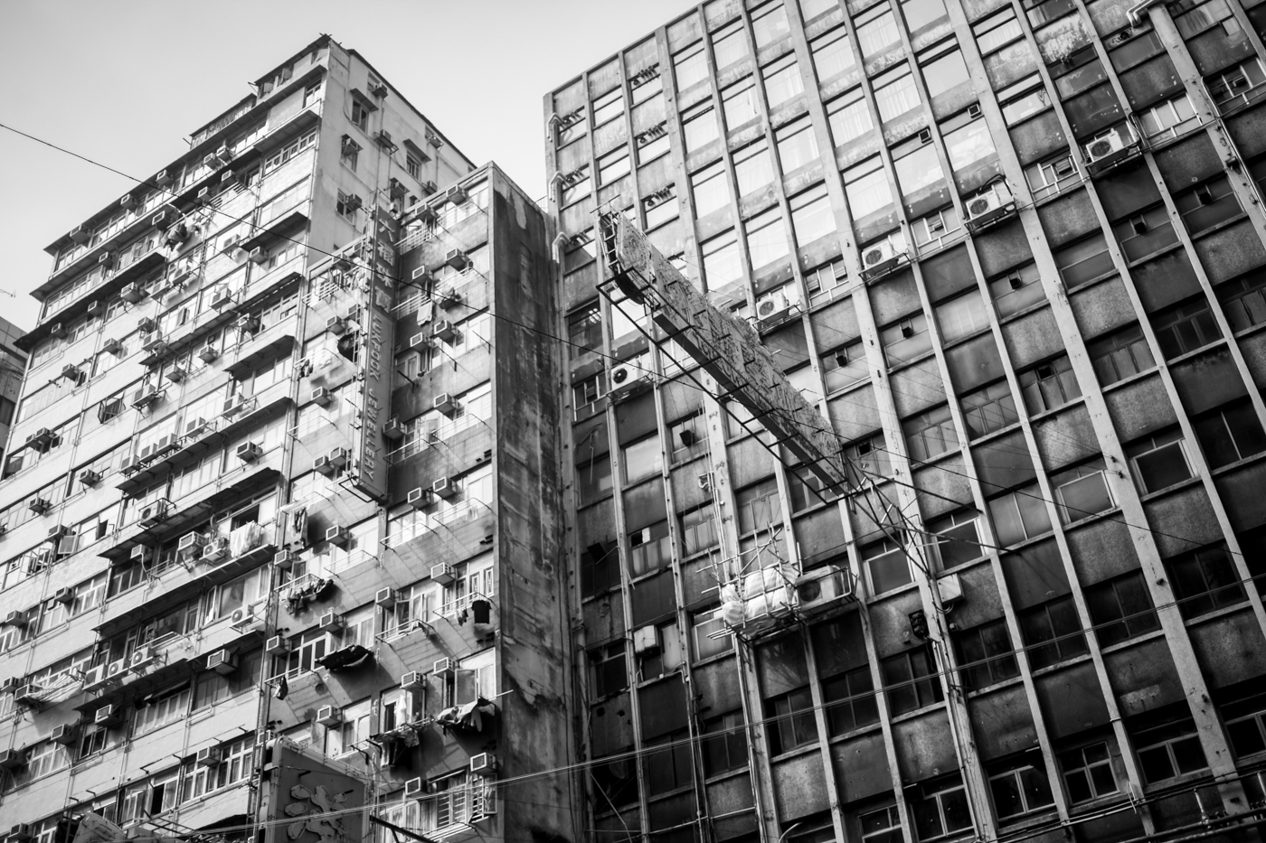 Apartment buildings near our Airbnb in Kowloon, Jordan.