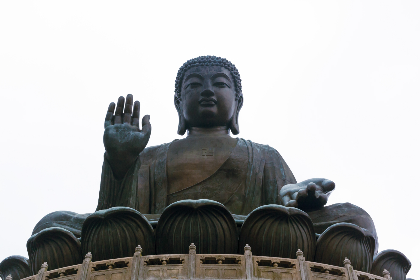 At the base of the Big Buddha statue.