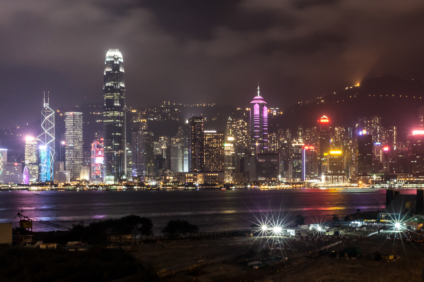 The Hong Kong city skyline at night, from outside The Ritz-Carlton hotel.