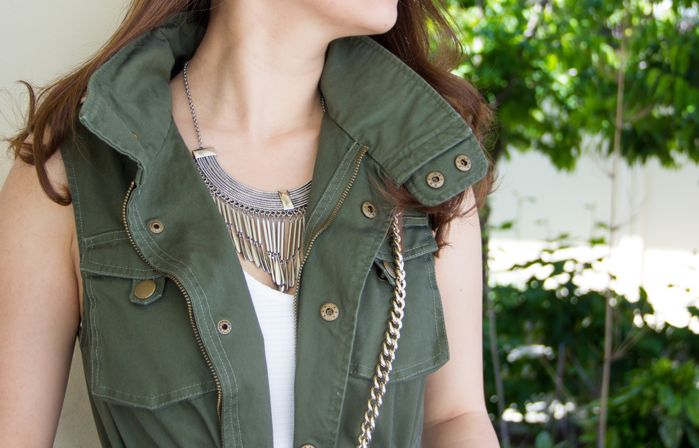 Stand-collar military vest   via The Chic Diary