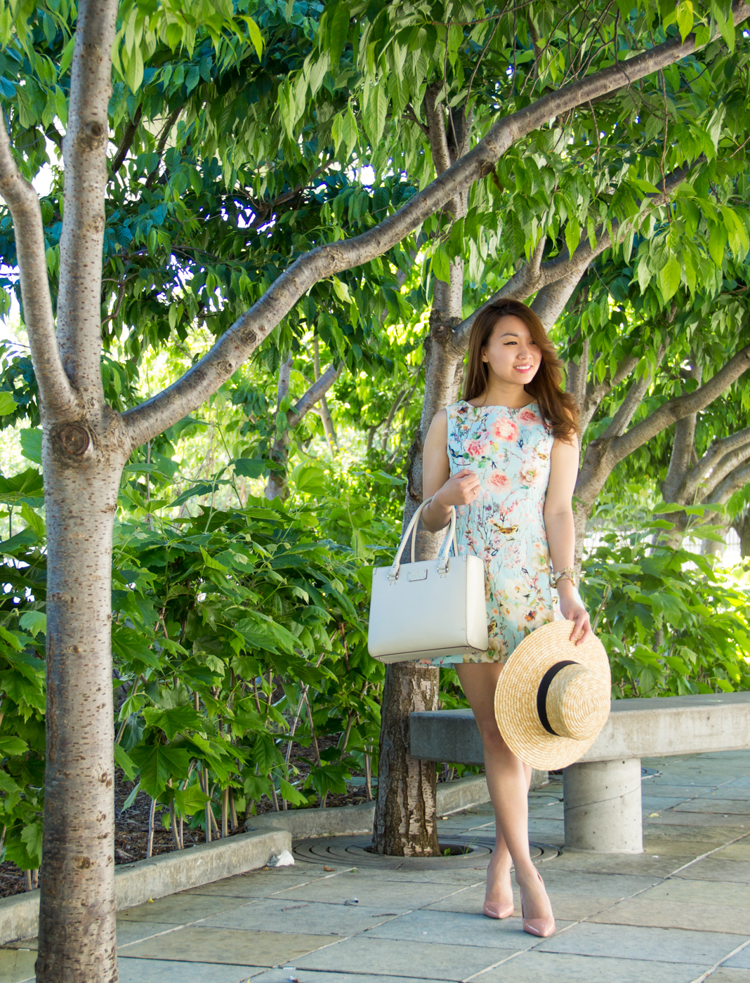 Summer Blooms - Straw Hat & Floral A-Line Dress | via The Chic Diary