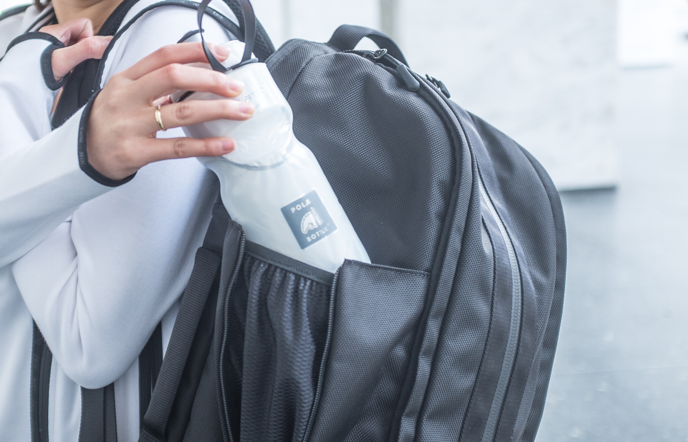 Aer Duffel Pack | Spot for your water bottle! | via The Chic Diary