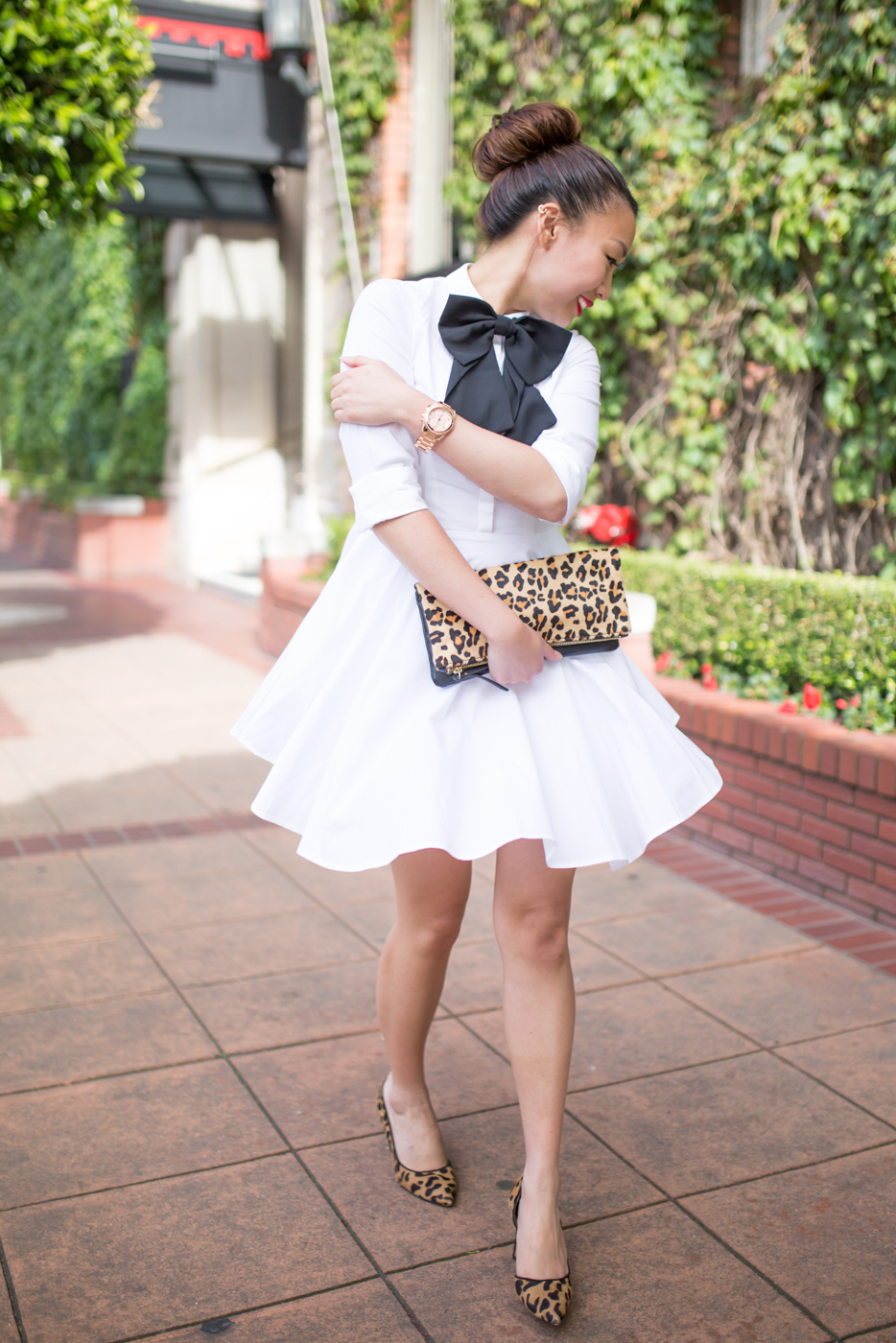 Express Fit & Flare Shirt Dress with Leopard Details | via The Chic Diary