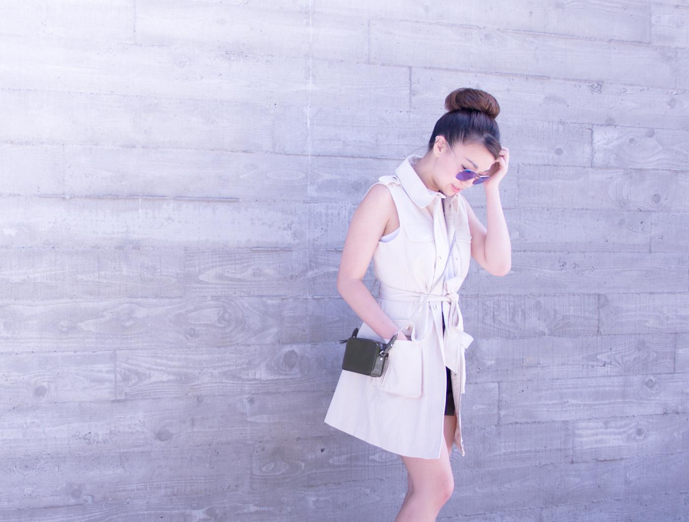 Bebe pocket vest   via The Chic Diary