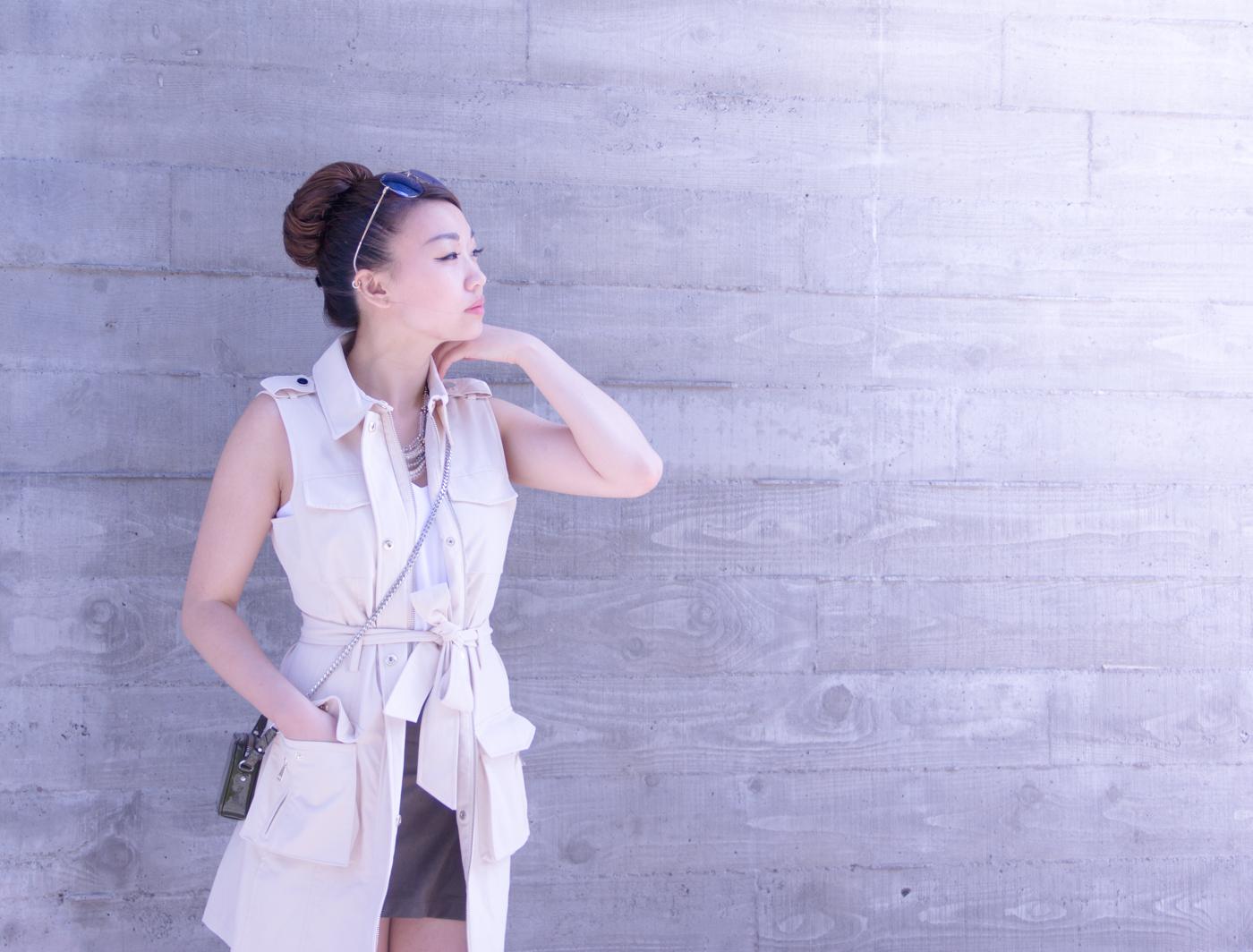 Bebe trench vest   via The Chic Diary