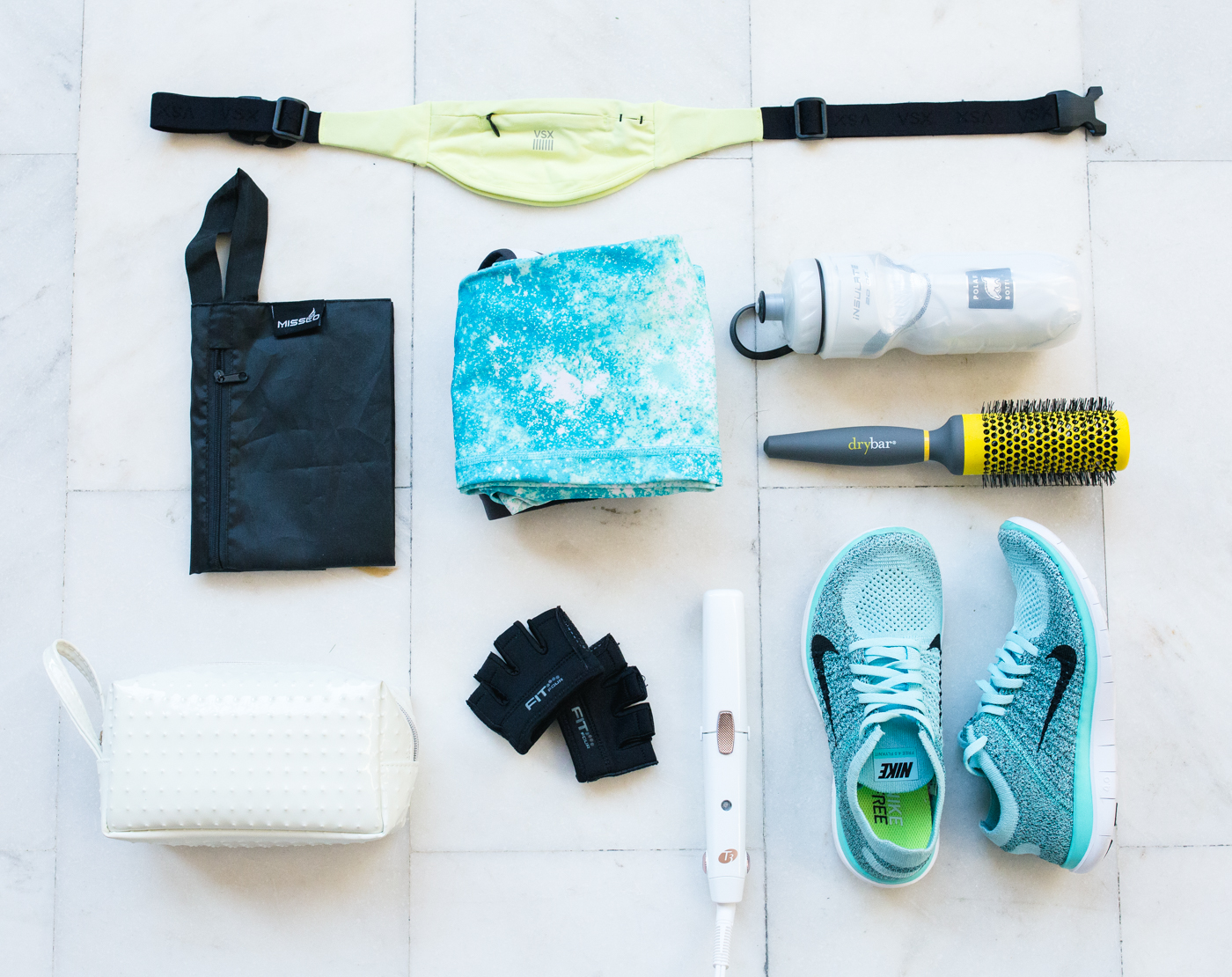 Gym Bag Products - Flat Lay | via The Chic Diary