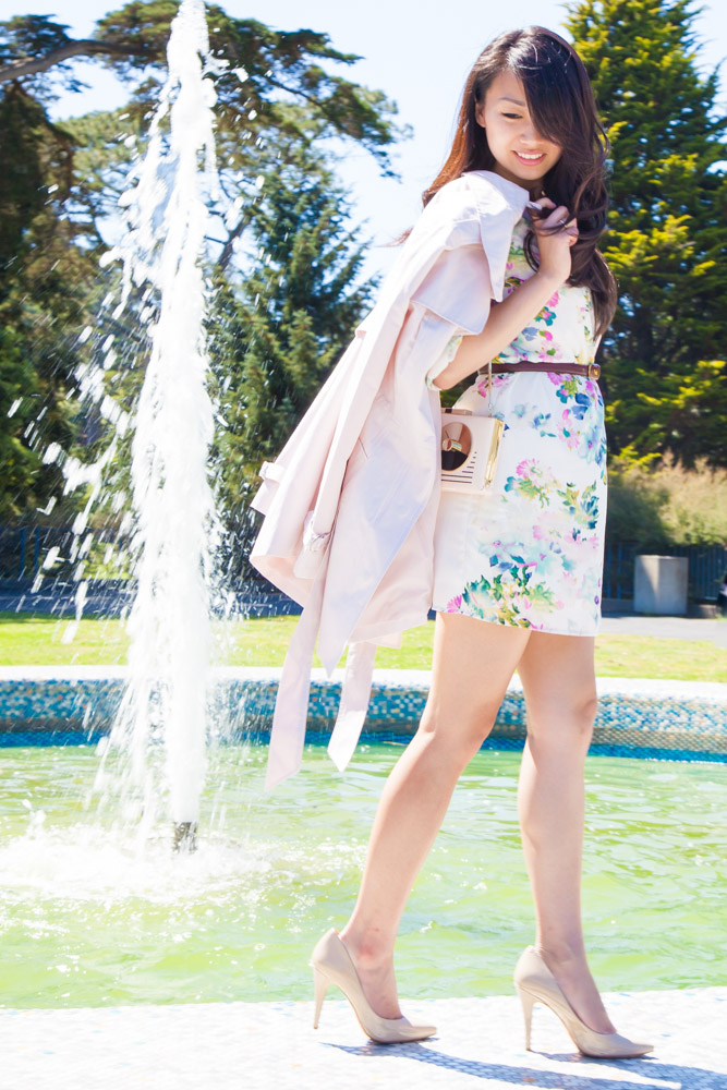 08.13.15: Summer Florals | Shift Dress & Pale Pink Trench Coat