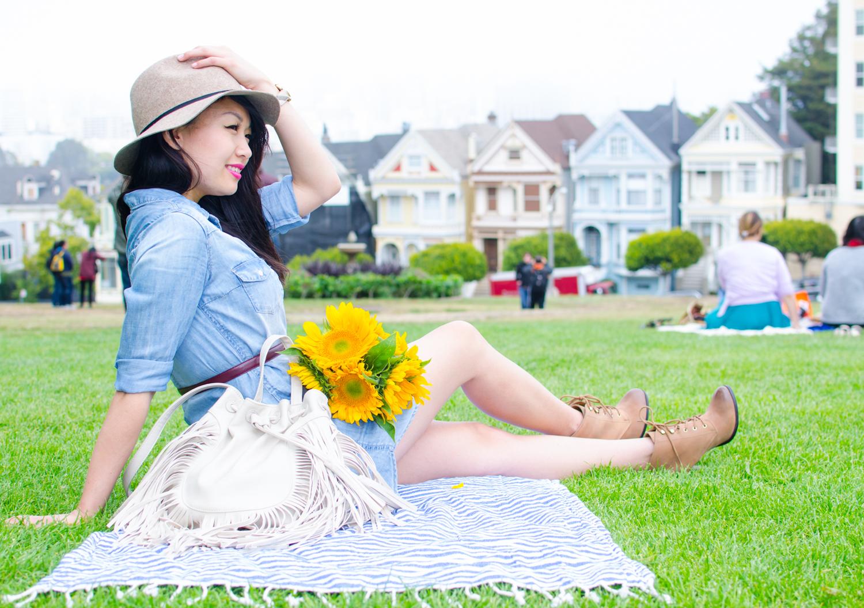 09.24.15: Summer to Fall | Chambray Shirt Dress & Sunflowers