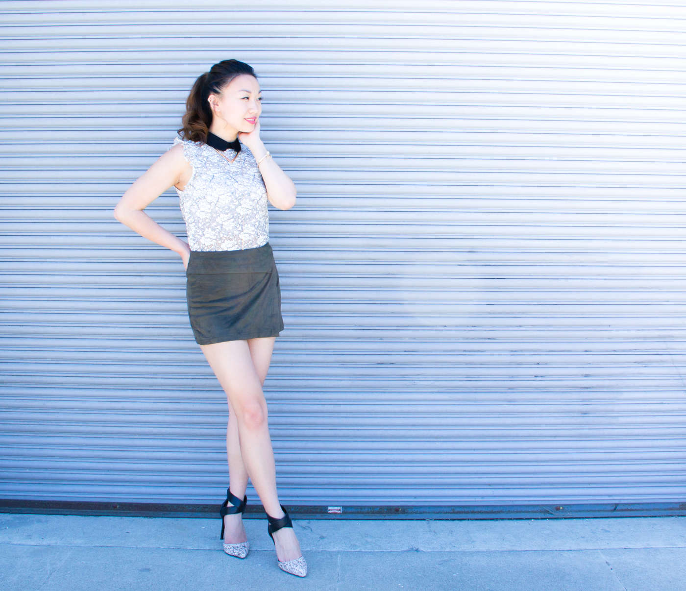 Zara lace top & Enzo Anglioni heels | via The Chic Diary