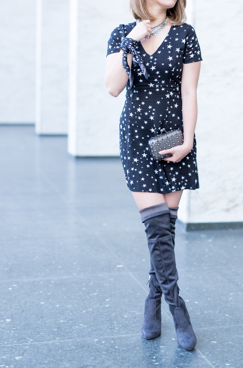 Star print dress with OTK boots | The Chic Diary