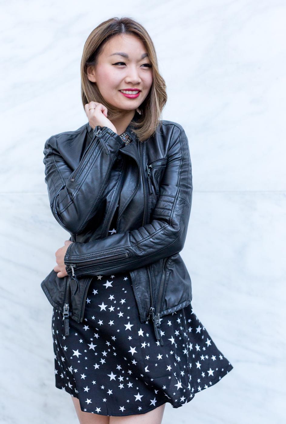 Zara Leather Jacket with Star Print Dress | The Chic Diary