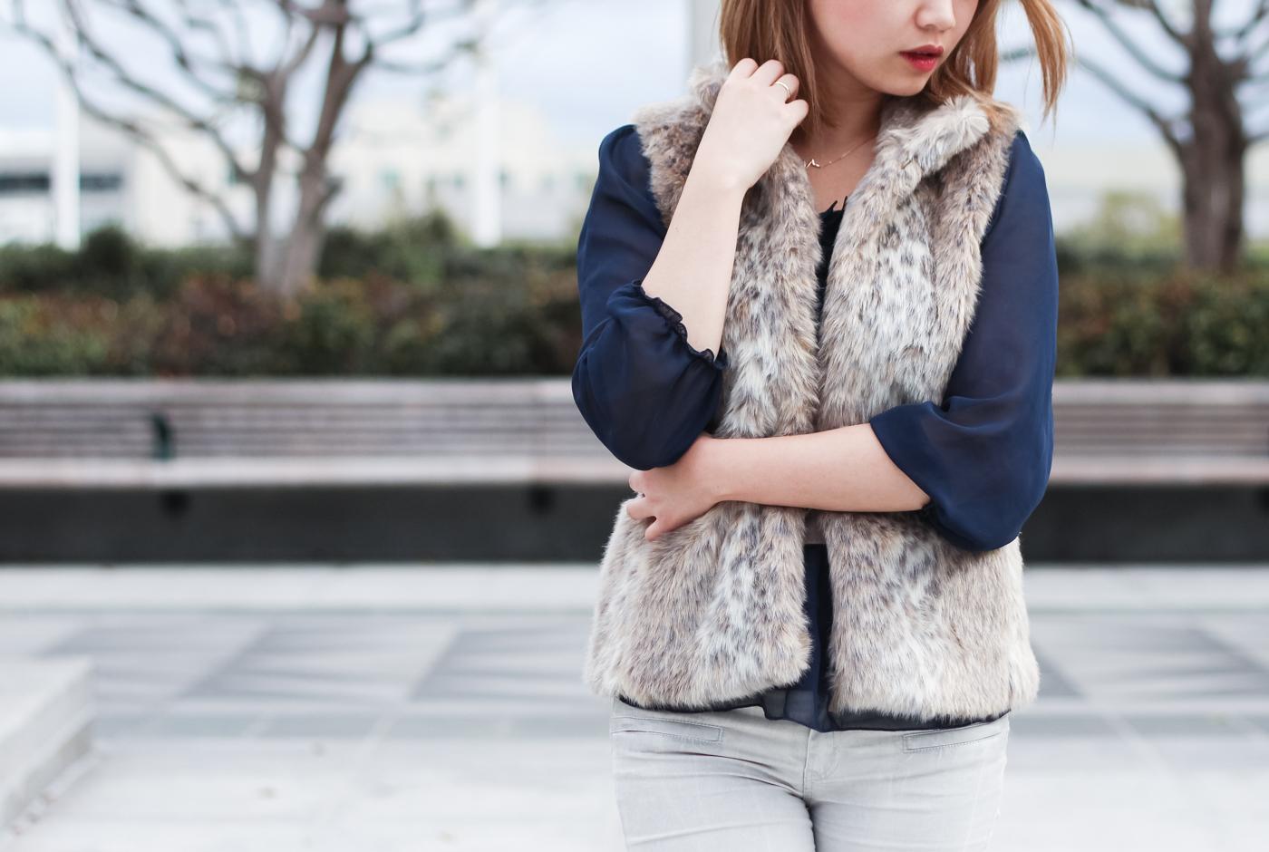 Banana Republic Faux Fur Vest | The Chic Diary