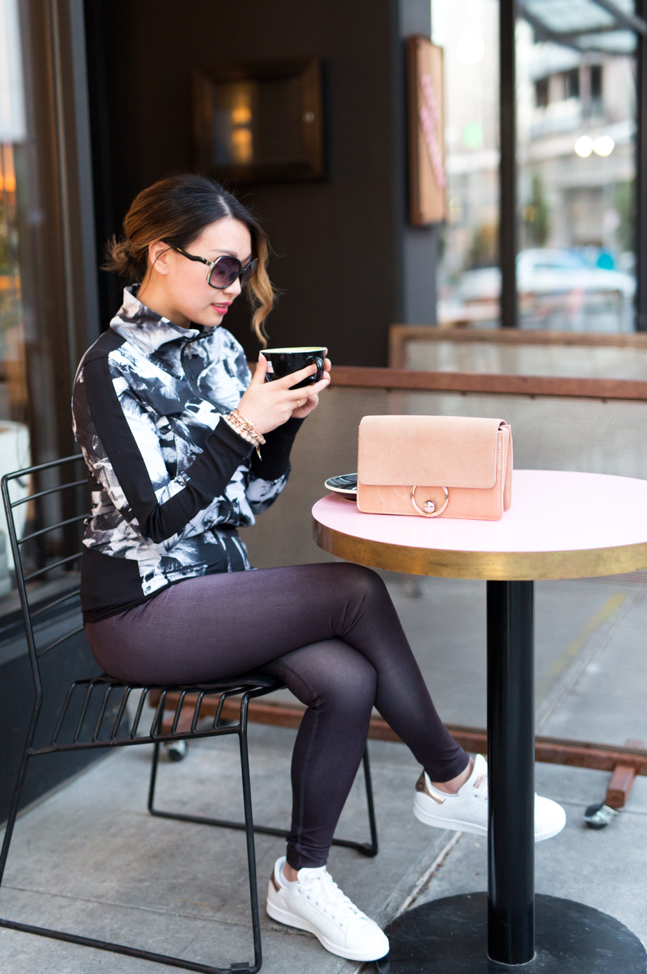 lucy Floral Track Jacket & indiGO Run Tights | The Chic Diary