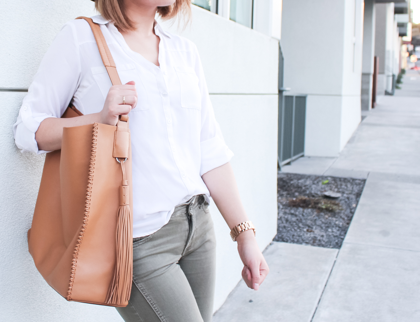 All Saints Paradise North/South Calfskin Leather Tote | The Chic Diary