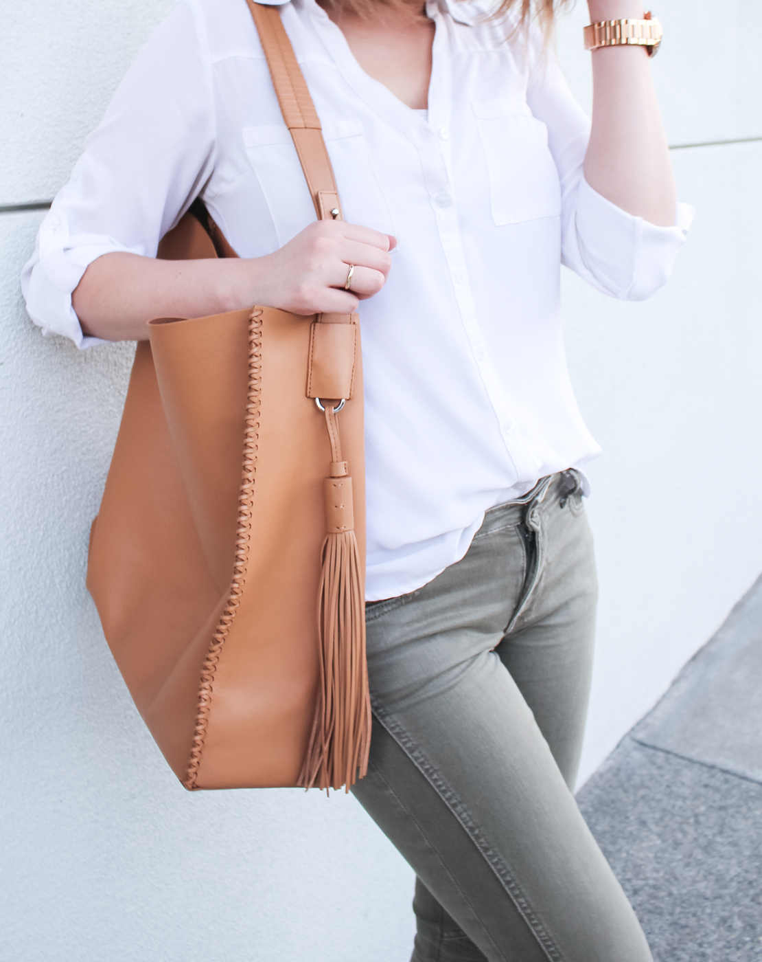 All Saints Paradise 'North/South' Leather Tote | The Chic Diary
