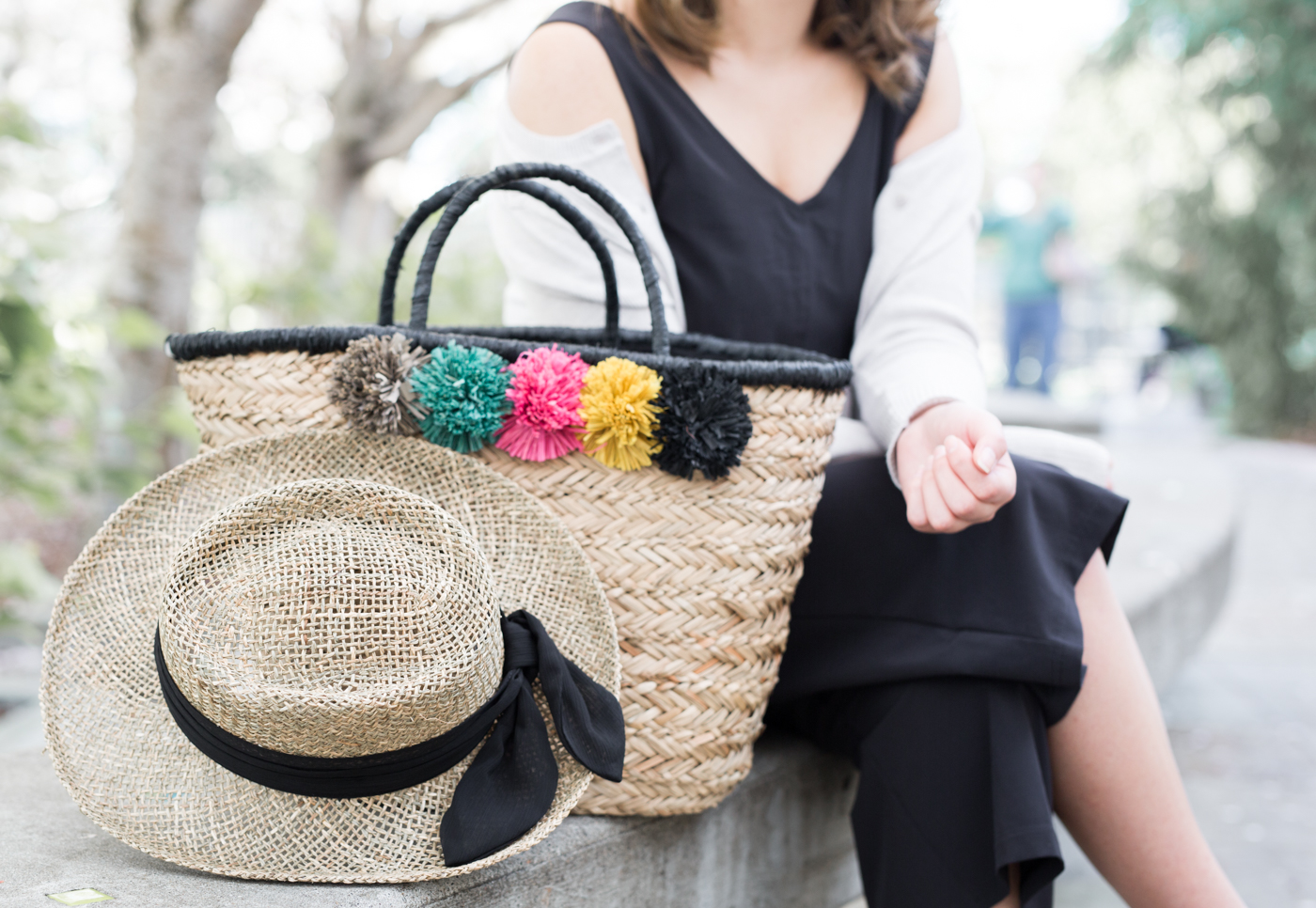 San Diego Hat Company Pom Seagrass Tote & Hat   The Chic Diary