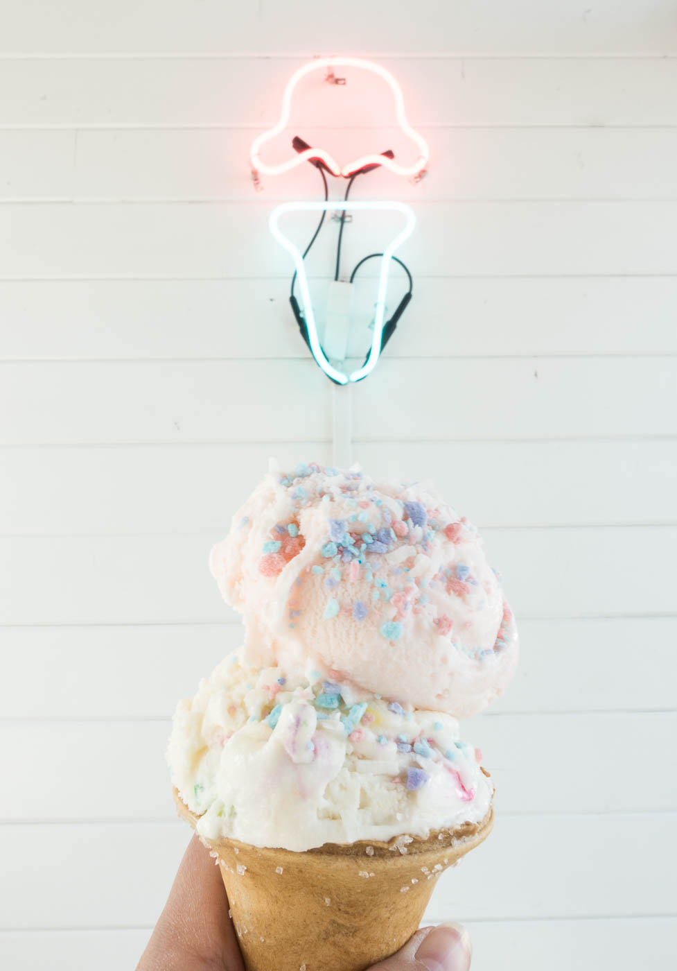 Rose water & confetti cake ice cream on a salted pretzel cone at Ice Cream & Shop(pe) | The Chic Diary.jpg