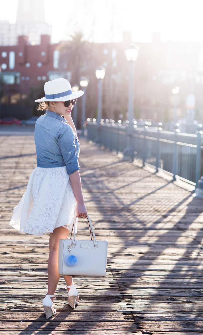 San Diego Hat Co Fedora Hat & J Crew Chambray Shirt | The Chic Diary