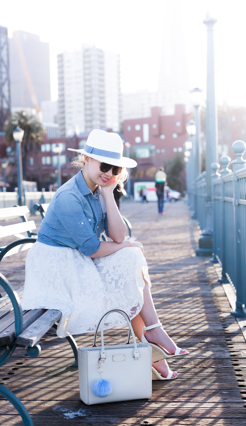 Chambray Shirt & Lace White Skirt | The Chic Diary
