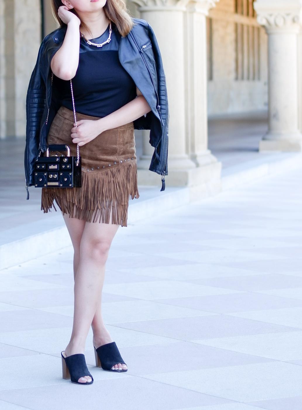 Leather moto jacket, fringe skirt, black mules | The Chic Diary