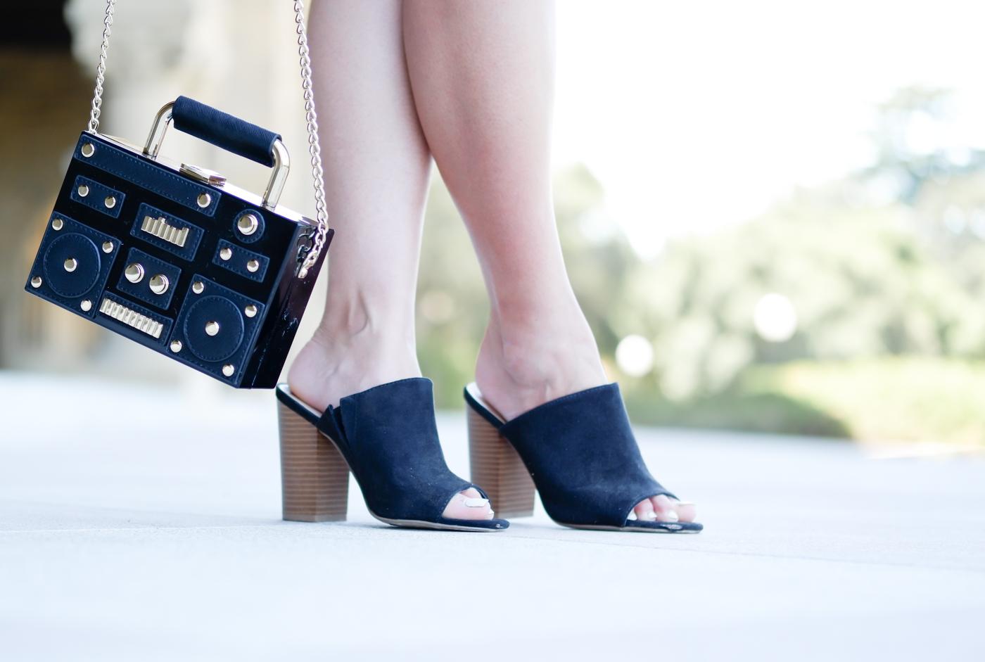 Zara stereo crossbody bag & JustFab mules | The Chic Diary