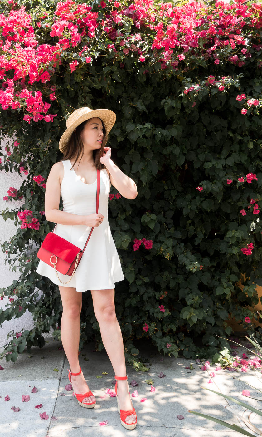 Red Chloe Dupe Bag & Expess Wedge Sandals | The Chic Diary