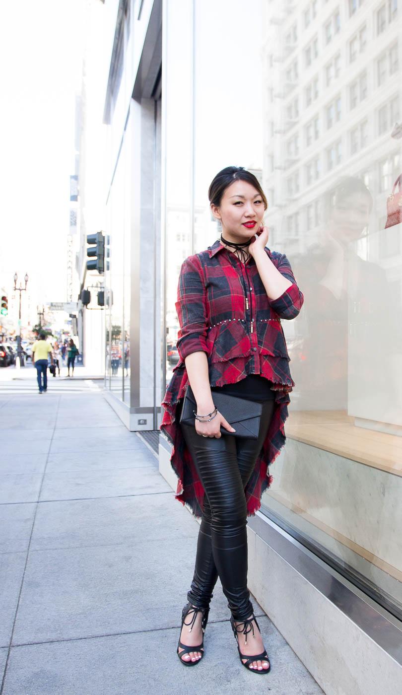 Zara Plaid Shirt & Plush Moto Faux Leather Leggings | The Chic Diary