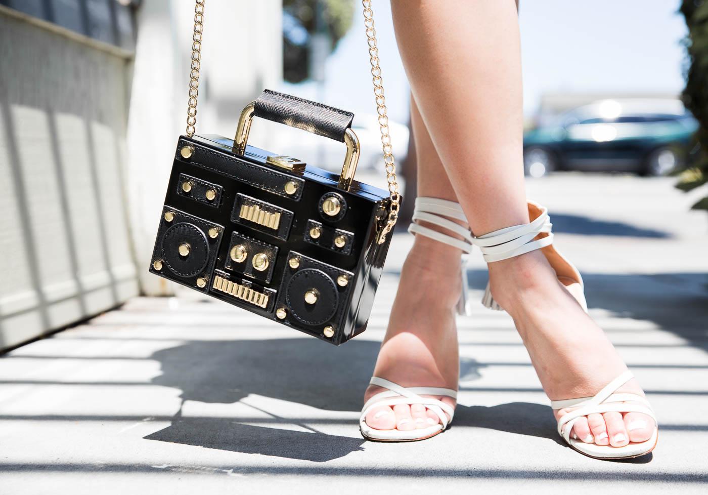 Zara Stereo Clutch Bag & Schutz Sandals | The Chic Diary