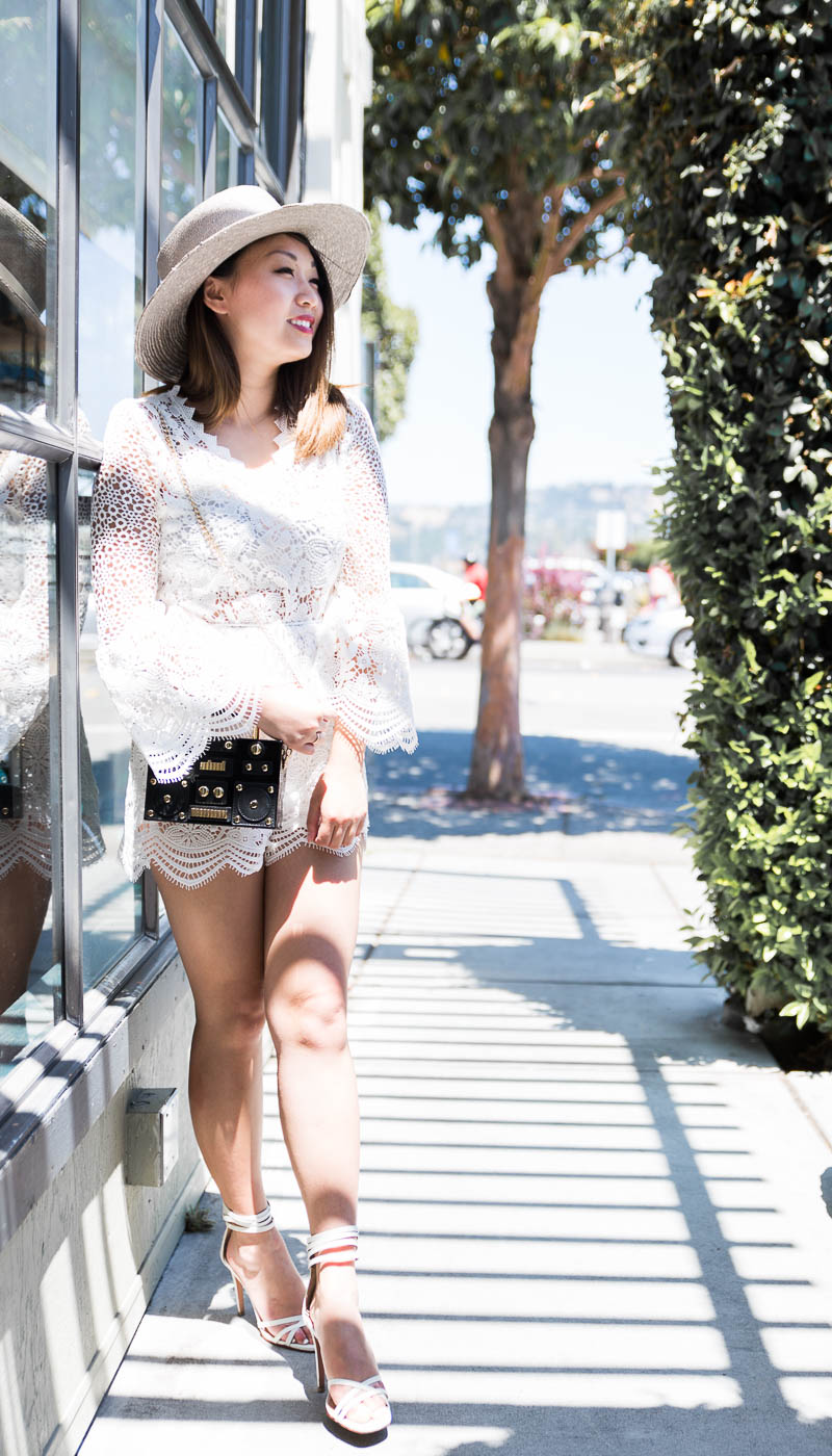 Chicwish Garden Crochet Playsuit with Bell Sleeves | The Chic Diary