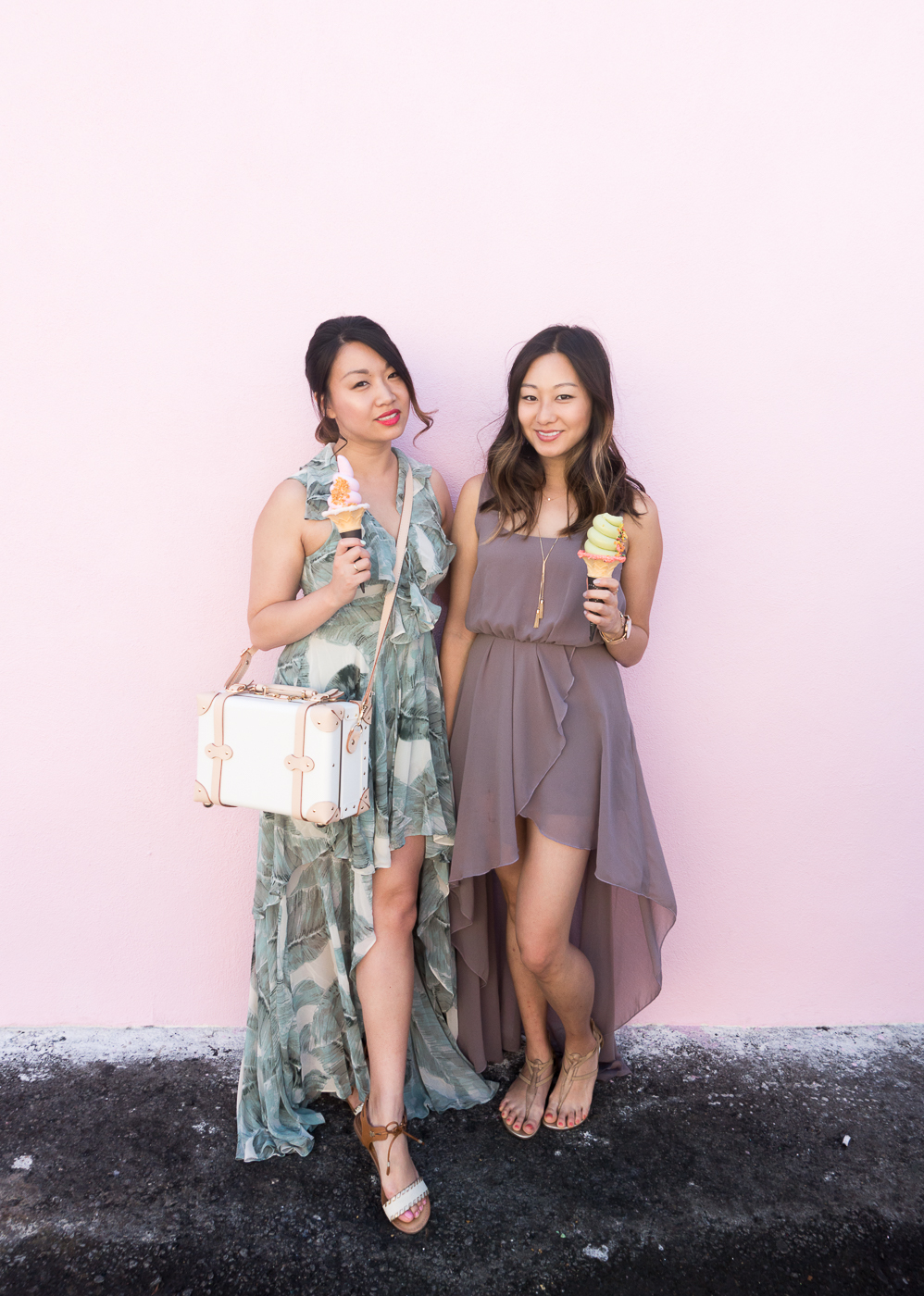 Lulu's Sage Green High-Low Dress & Steamline Luggage Sweetheart Vanity Case | The Chic Diary