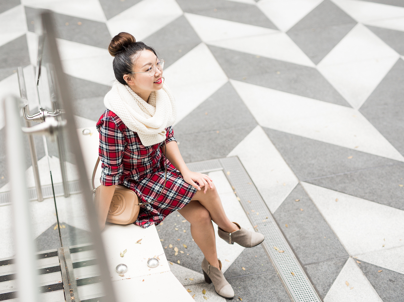 Winter favorites - Cuyana alpaca scarf & Pretty Little Thing plaid dress | The Chic Diary.