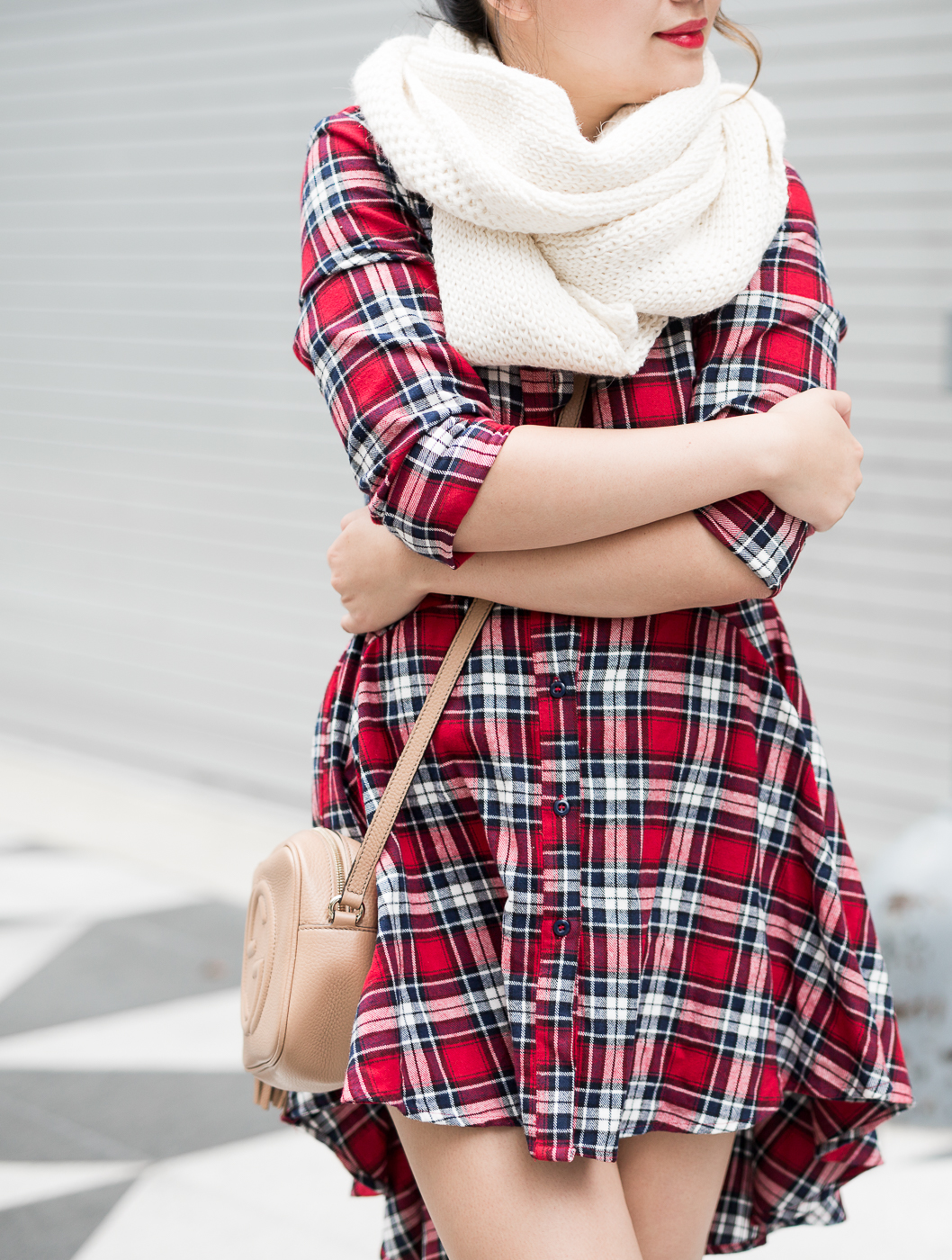 PrettyLittleThing Ruffle Check Shirt Dress & Cuyana Baby Alpaca Infinity Scarf | The Chic Diary