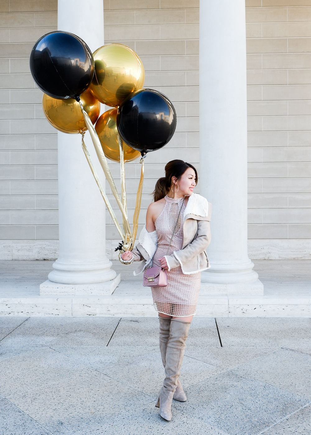 Guess shearling jacket, Missguided sequin dress, & The Wildflower Shop boots   The Chic Diary