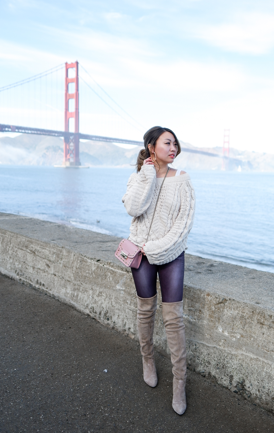 Express Ivory Balloon Sleeve Sweater & The Wildflower Shop OTK Boots | The Chic Diary