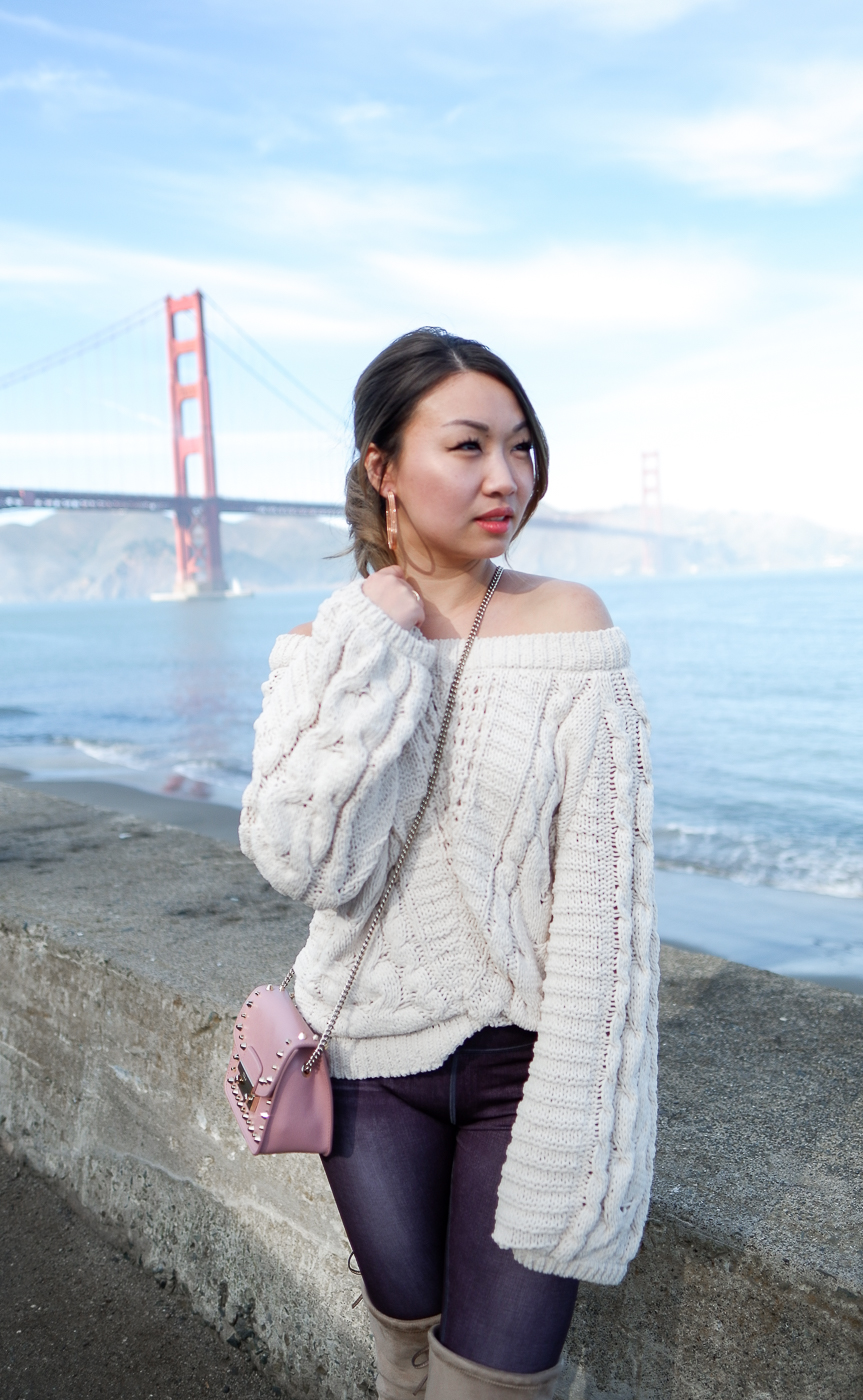 Express Sweater & Furla Studded Crossbody Bag | The Chic Diary