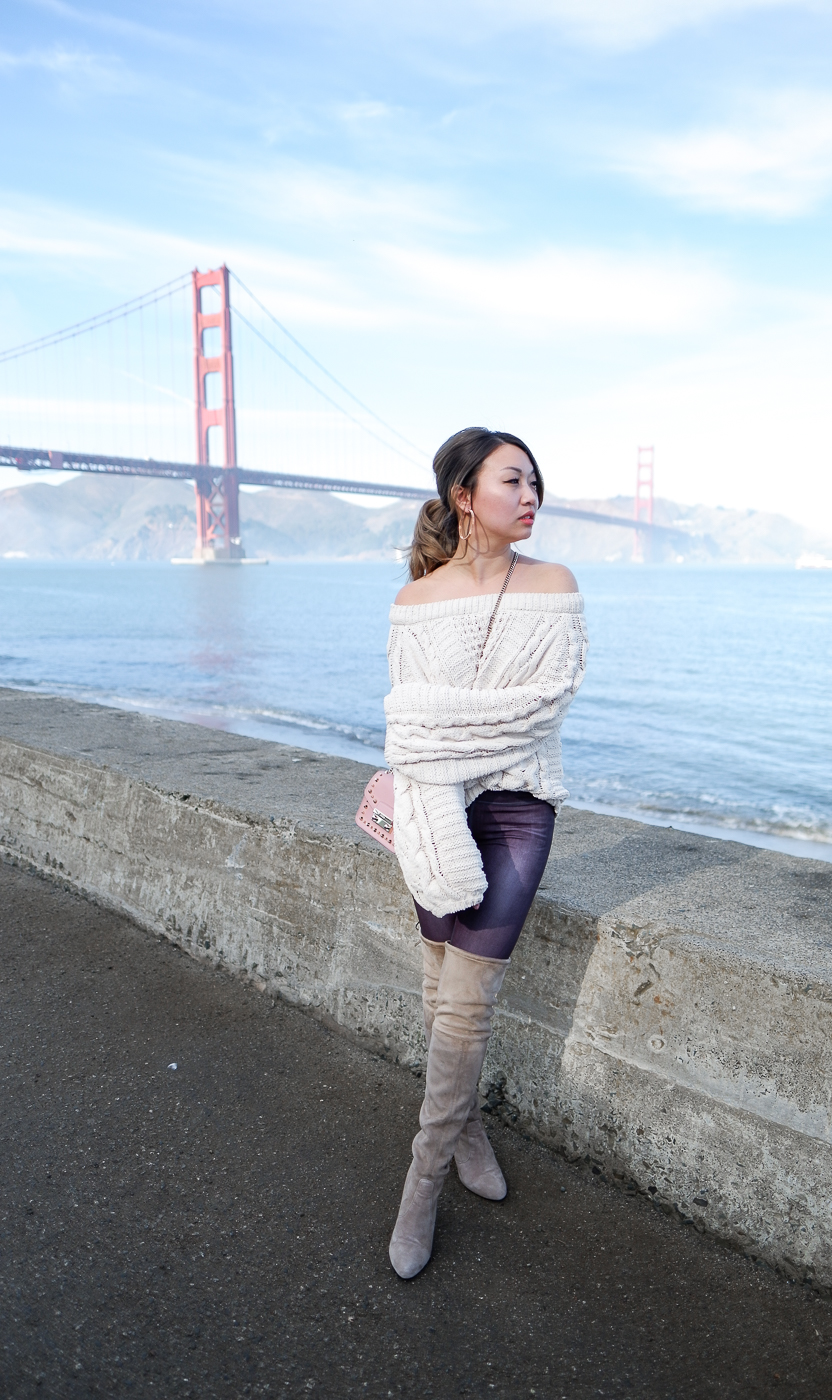 Express Balloon Sleeve Sweater & The Wildflower Shop Thigh High Boots | The Chic Diary
