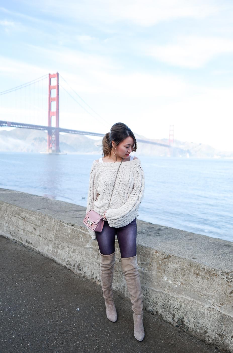 Express Balloon Sleeve Sweater & Furla Julia Mini Studded Leather Bag | The Chic Diary