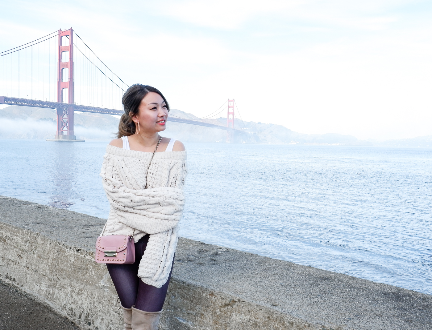 Express Cable Knit Chenille Boat Neck Balloon Sleeve Sweater | The Chic Diary