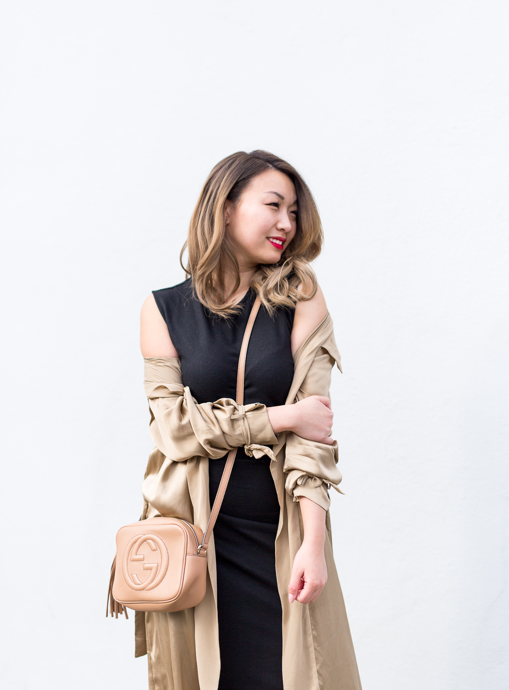 Aritzia Dress & Duster Jacket and Gucci Soho Disco Bag | The Chic Diary