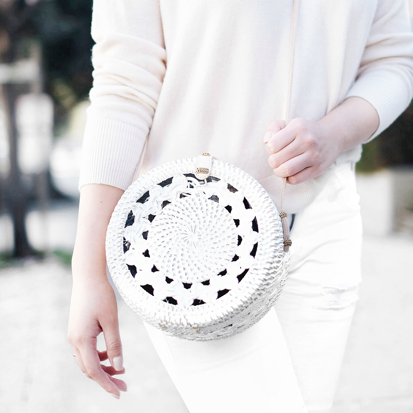 Ellen & James     •     White Round Basket Bag     Cost:  $99  Times Worn as of 3/2019:  20  Cost/Times Worn:  $4.95  Cost/30 Wears:  $3.30