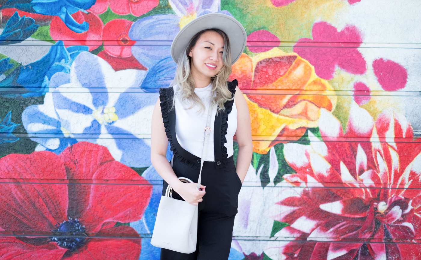 Albion Fit Black Ruffle Overall | The Chic Diary