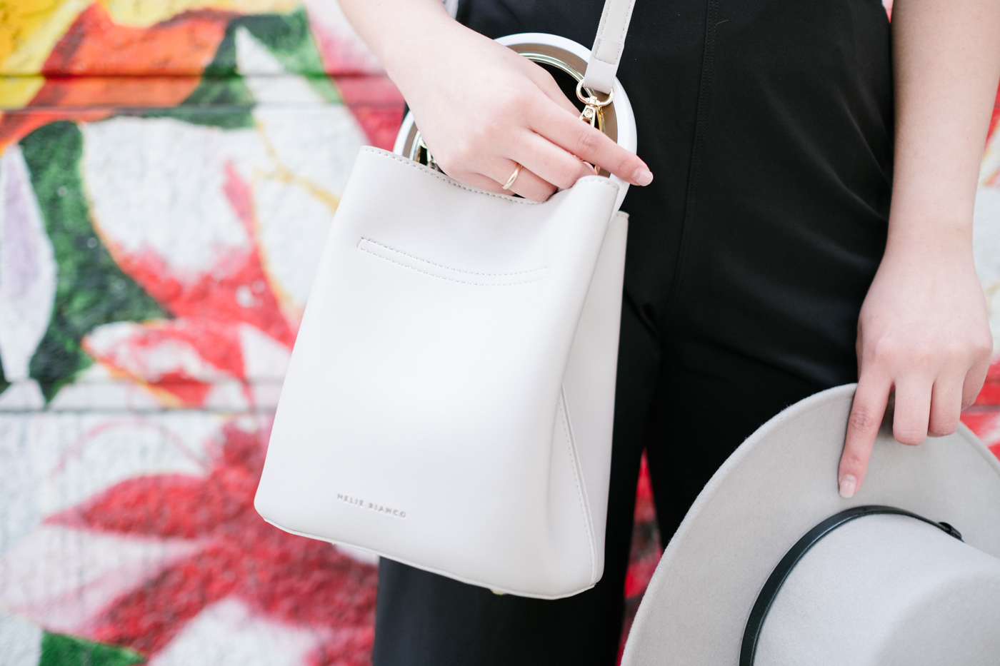 Melie Bianco Gemma Bone Round Handle Crossbody vegan bag | The Chic Diary