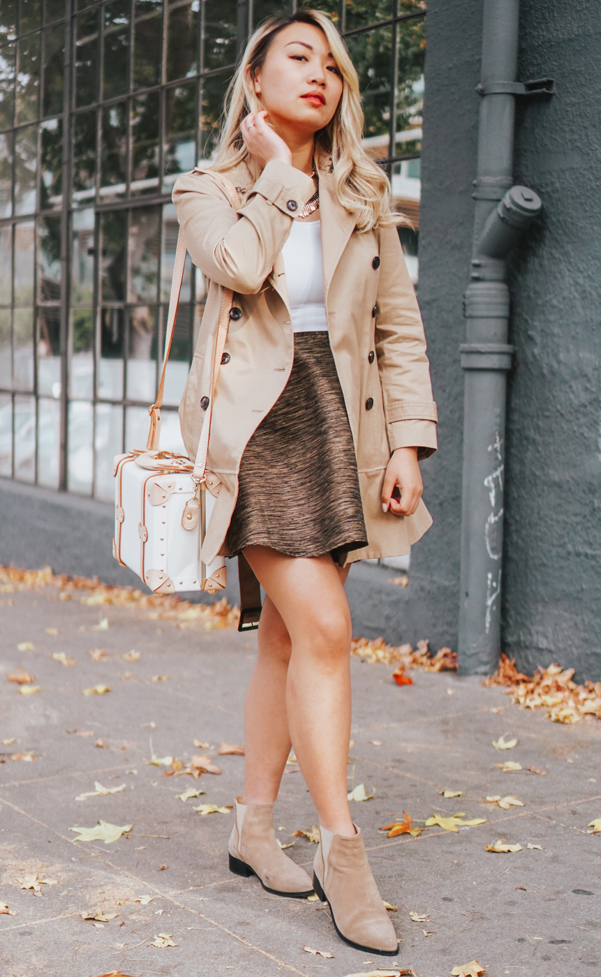 Amour Vert flare skirt & Frank & Oak The Chelsea boot | The Chic Diary