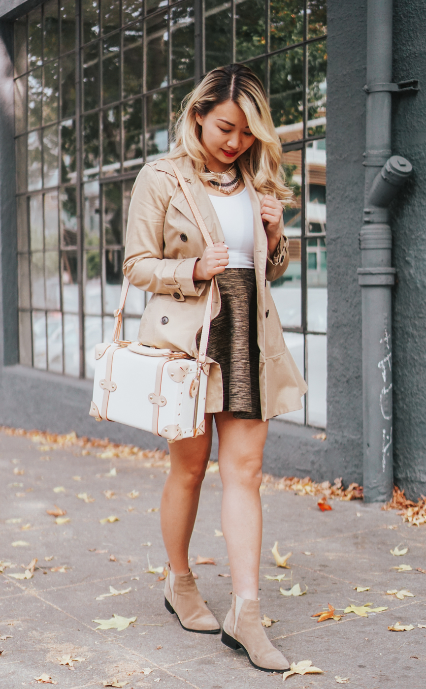 Banana Republic flare trench coat | The Chic Diary