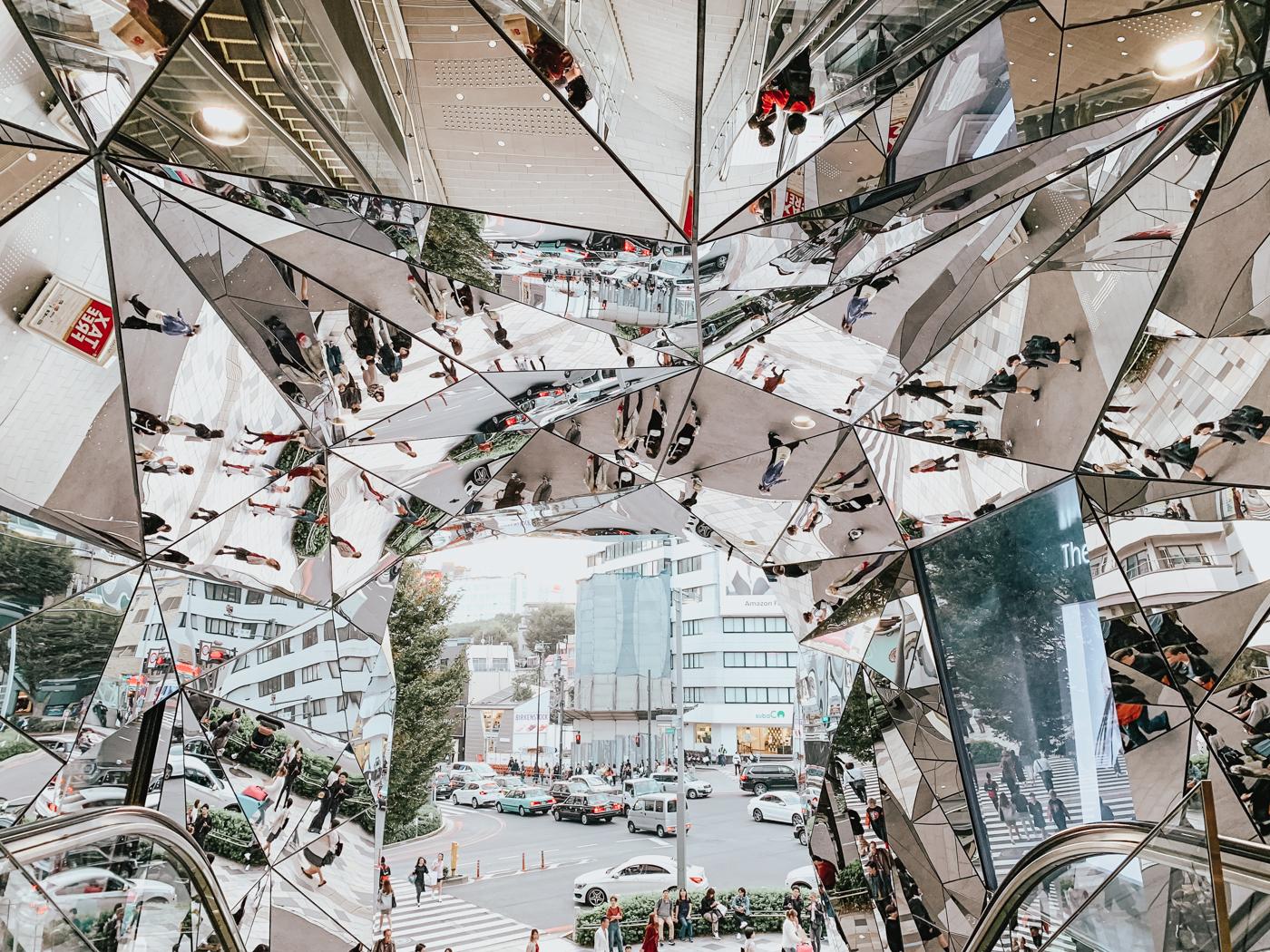 Tokyo Plaza Omotesando Harajuku - Mirrored escalator entrance