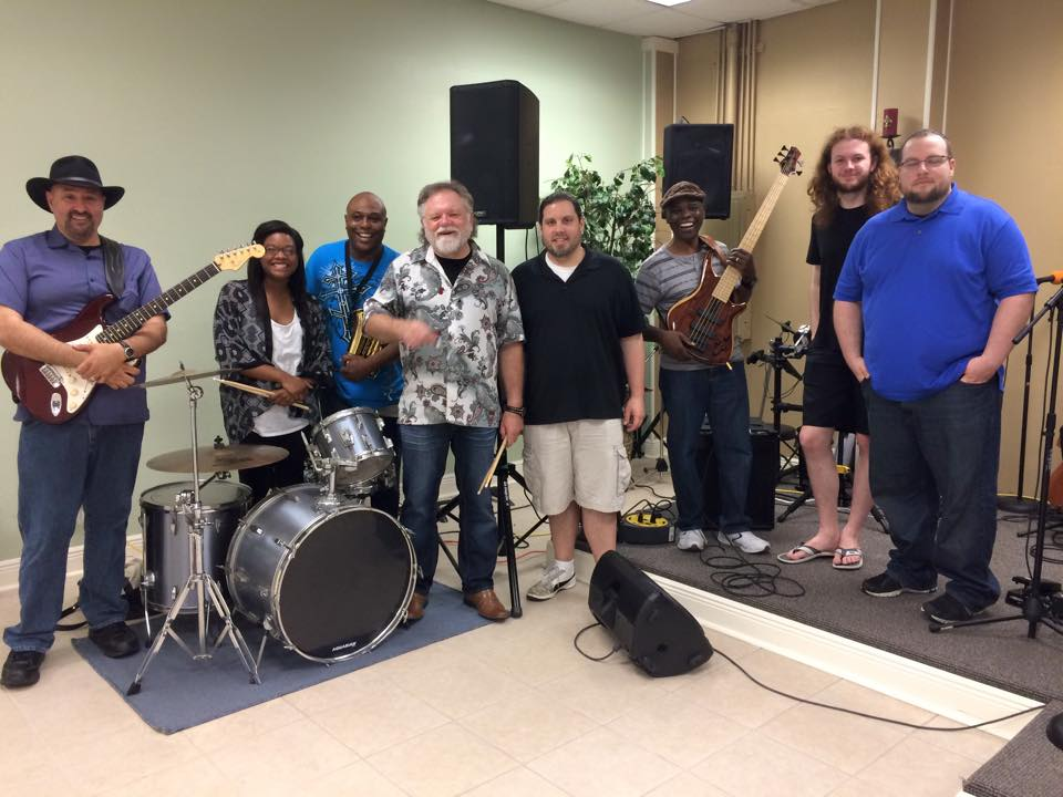 New Orleans – 4/24/15  (L-R) Keith Stone, DeAnna Robinson, Byron Bishop, James Nesbit, Jamie Fitt, Eddie Robinson, Isaac Nesbit, Jonathan Fitt