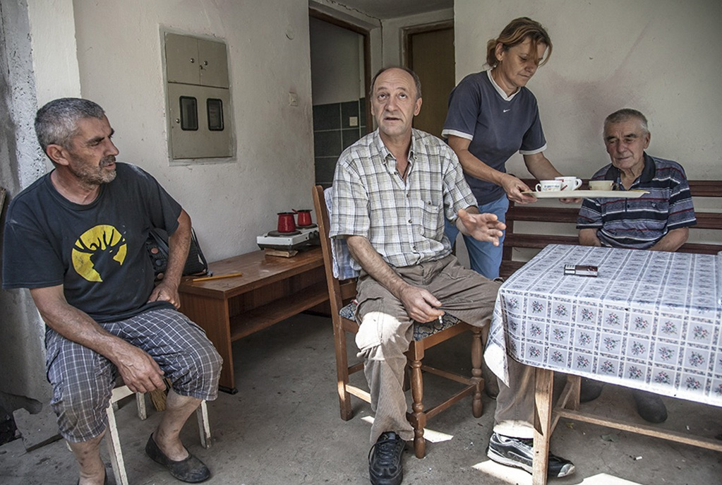Having coffee and rakje with Bato and his family in his village outside Srebrenica.