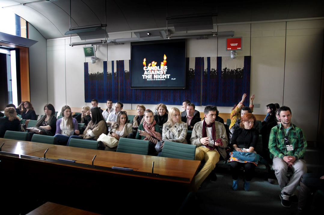 Young people from Srebrenica and Bratunac presenting the film 'Candles Against the Night', about their lives to UK politicians at the House of Commons, London 2012.